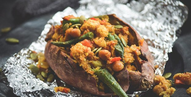 Deliciously Filling Stuffed Sweet Potatoes (Vegan)