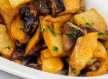 Delightful Potato, Morel and Onion Vegan Fricassee