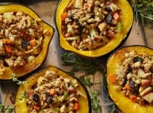 Sumptuous Vegan Gem Squash with Tofu & Thyme Stuffing