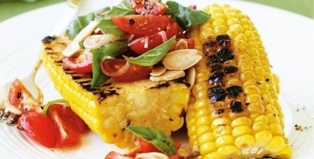 barbequed corn with tomato salad